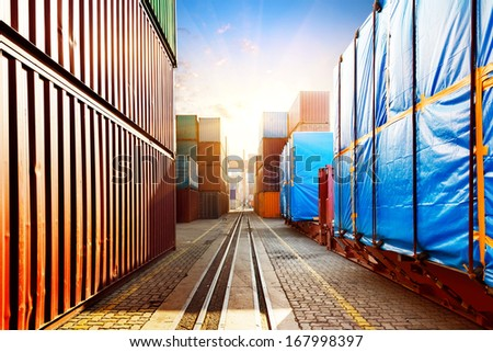 When the container terminal at dusk - stock photo