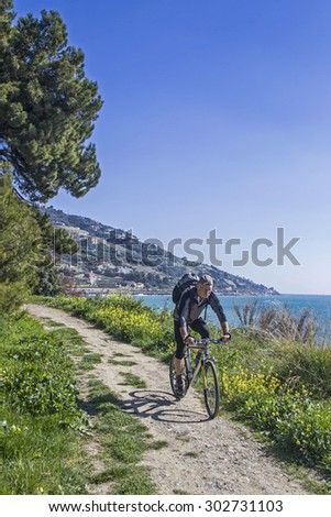 When traveling on the Pista ciclabile Parco costiero between San Lorenzo and San Remo - stock photo