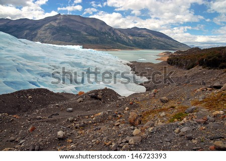 Where Glacier Meets Land, Patagonia, Argentina - stock photo