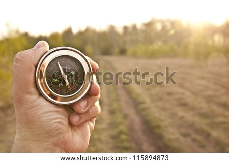 Which direction to go? North or south? Decisions to be made - stock photo
