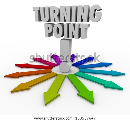 Which path will you choose when you reach the Turning Point, illustrated by these several colorful arrows in different directions? - stock photo