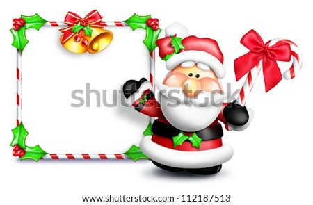 Whimsical Cartoon Santa in Front of Blank Sign - stock photo