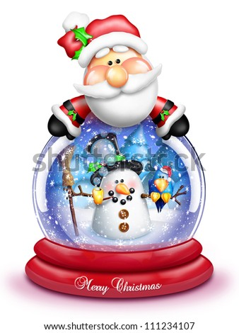 Whimsical Cartoon Santa Leaning Over Snow Globe - stock photo