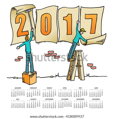Whimsical drawing 2017 calendar for web or print use - stock photo