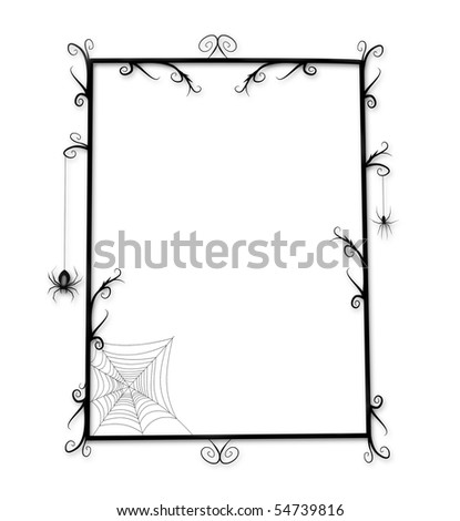 Whimsical Goth or Halloween frame with thorny curlicues and spiders - stock photo