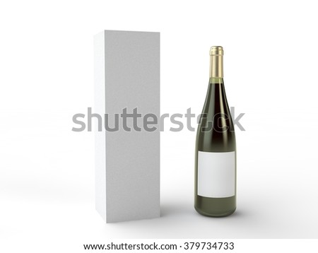 whine or champagne bottle and paper box - stock photo