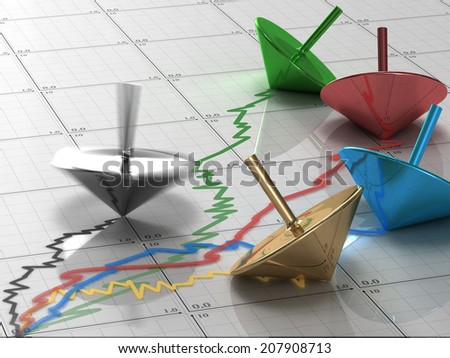 whirligig draws business chart - stock photo