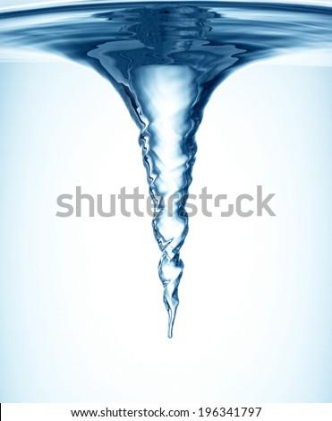 Whirlpool underwater in blue - stock photo