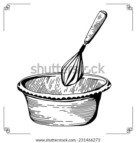 Whisk. Culinary whipped methods. Creme Chantilly. Equipment for cookery. Cooking implements. Cooking steps. Methods of Cooking. Process of cookery - stock photo