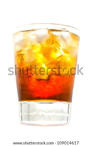 whiskey and cola and ice - stock photo
