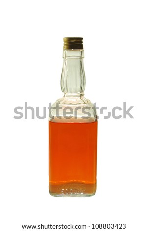 Whiskey Bottle against white background - stock photo