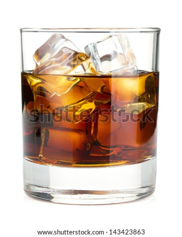 Whiskey cola cocktail. Isolated on white background - stock photo