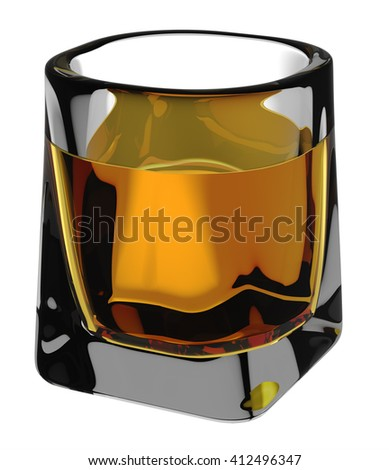 Whiskey glass. Include clipping path. Isolated on white background. 3D illustration - stock photo