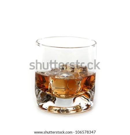 Whiskey glass. Isolated on white - stock photo