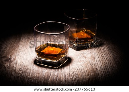 whiskey in glasses - stock photo