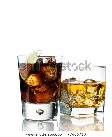whiskey of the rocks and cola - stock photo