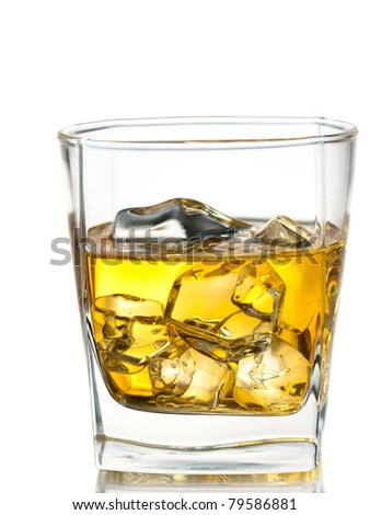 whiskey on the rocks, isolated - stock photo