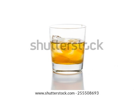 Whiskey on the rocks, isolated in white - stock photo