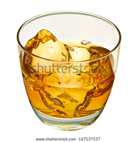 Whiskey with ice cubes in rocks glass including clipping path - stock photo