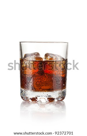 Whiskey with three cubes of ice on white background - stock photo