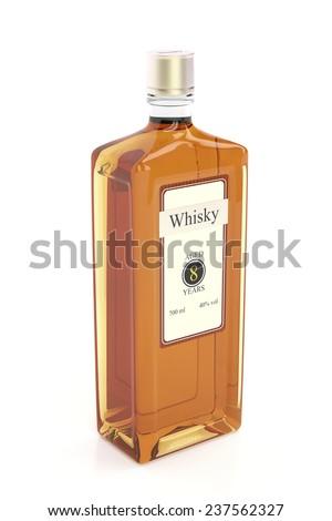 Whisky bottle on white background - stock photo