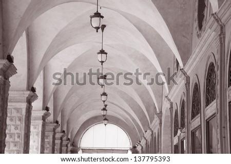 Whispering Gallery beneath the Palazzo del Podesta Palace, Bologna, Italy - stock photo