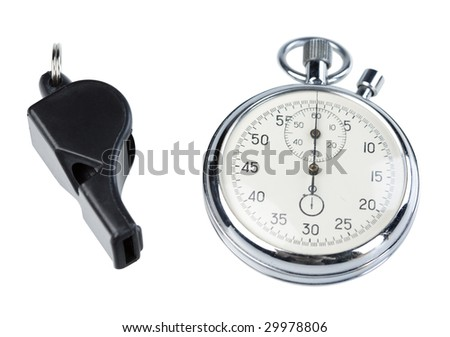Whistle and stopwatch isolated on white. Clipping paths - stock photo