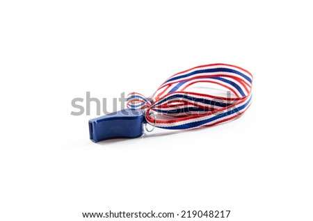 whistle  with isolated on white background - stock photo