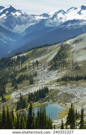 Whistler landscape with mountains and lake. British Columbia. Canada. Vertical - stock photo