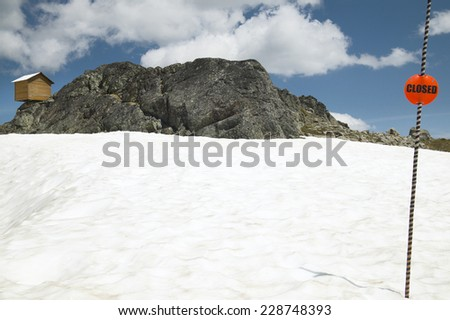 Whistler ski track with closed signal post. Canada   - stock photo