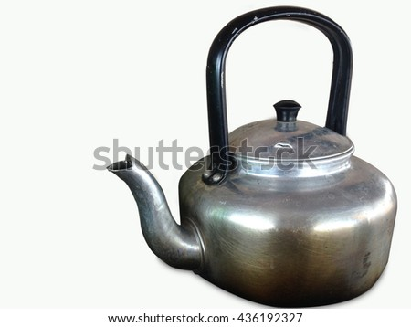 whistling kettle isolated on white background, still life with old aluminium kettle, Select focus aluminium.  - stock photo
