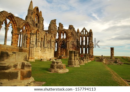 Whitby Abbey is a ruined Benedictine abbey overlooking the North Sea on the East Cliff above Whitby in North Yorkshire, England - stock photo