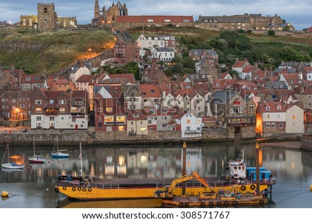 Whitby harbour on the north east coast of Yorkshire - stock photo