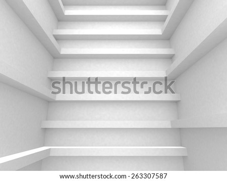 White Abstract Architecture Design Background. 3d Render Illustration - stock photo