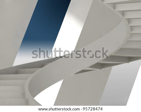 White abstract architecture interior with spiral stairs installation - stock photo