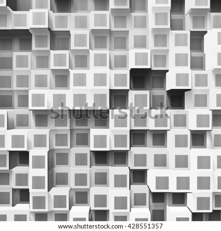 white abstract cubes, 3d illustration - stock photo