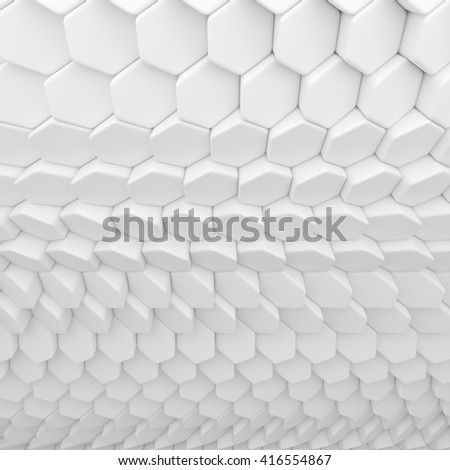 White abstract hexagons backdrop. 3d rendering geometric polygons, as tile wall. Interior room - stock photo