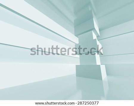 White Abstract Interior Architecture Background. 3d Render Illustration - stock photo