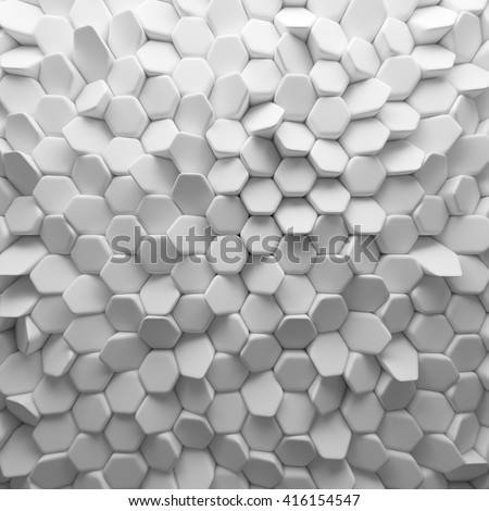 White abstract squares backdrop. 3d rendering geometric polygons, as tile wall. Interior room - stock photo