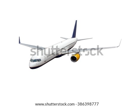 White aircraft. This plane with yellow Engines and blue Tail. - stock photo