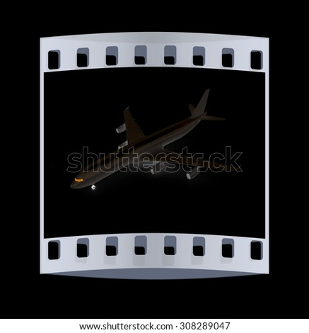 White airplane on a black background. The film strip - stock photo