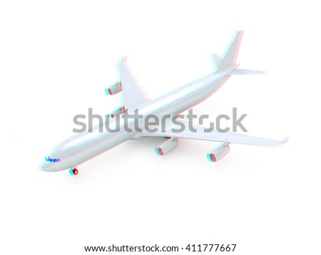 White airplane on a white background. 3D illustration. Anaglyph. View with red/cyan glasses to see in 3D. - stock photo