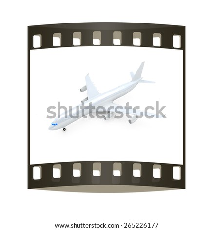 White airplane on a white background. The film strip - stock photo