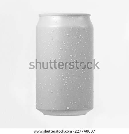 White aluminium can with water drop on white background - stock photo