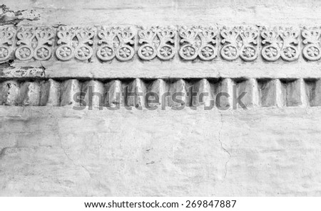 White ancient walls of the monastery is photographed close up - stock photo