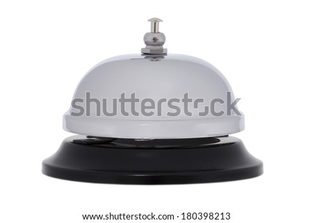white and black bell on white background - stock photo