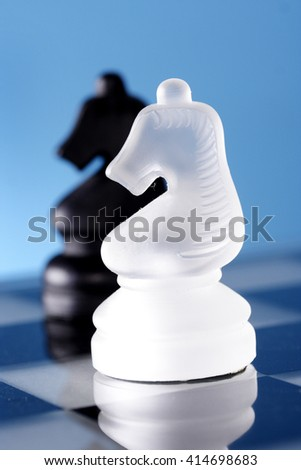 White- -and black chess knight pieces on chess board - stock photo