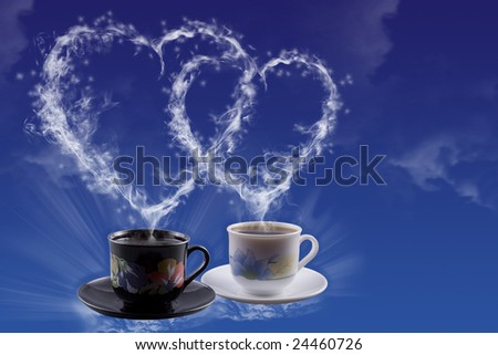 White and black cups Heart created by a smoke - stock photo
