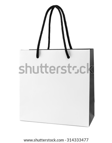 White and black paper shopping bag isolated - stock photo