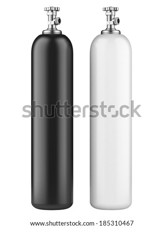 white and black propane cylinders with compressed gas isolated on a white background - stock photo